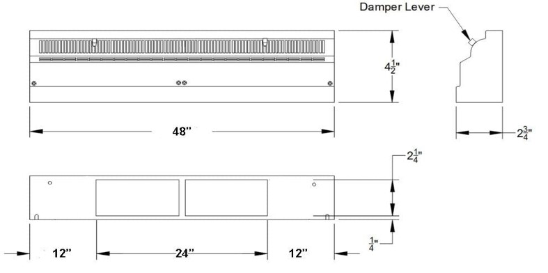 White TruAire 4 Foot Baseboard Register Submittal Drawing
