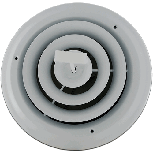 6 Inch White Round Ceiling Vent With Damper