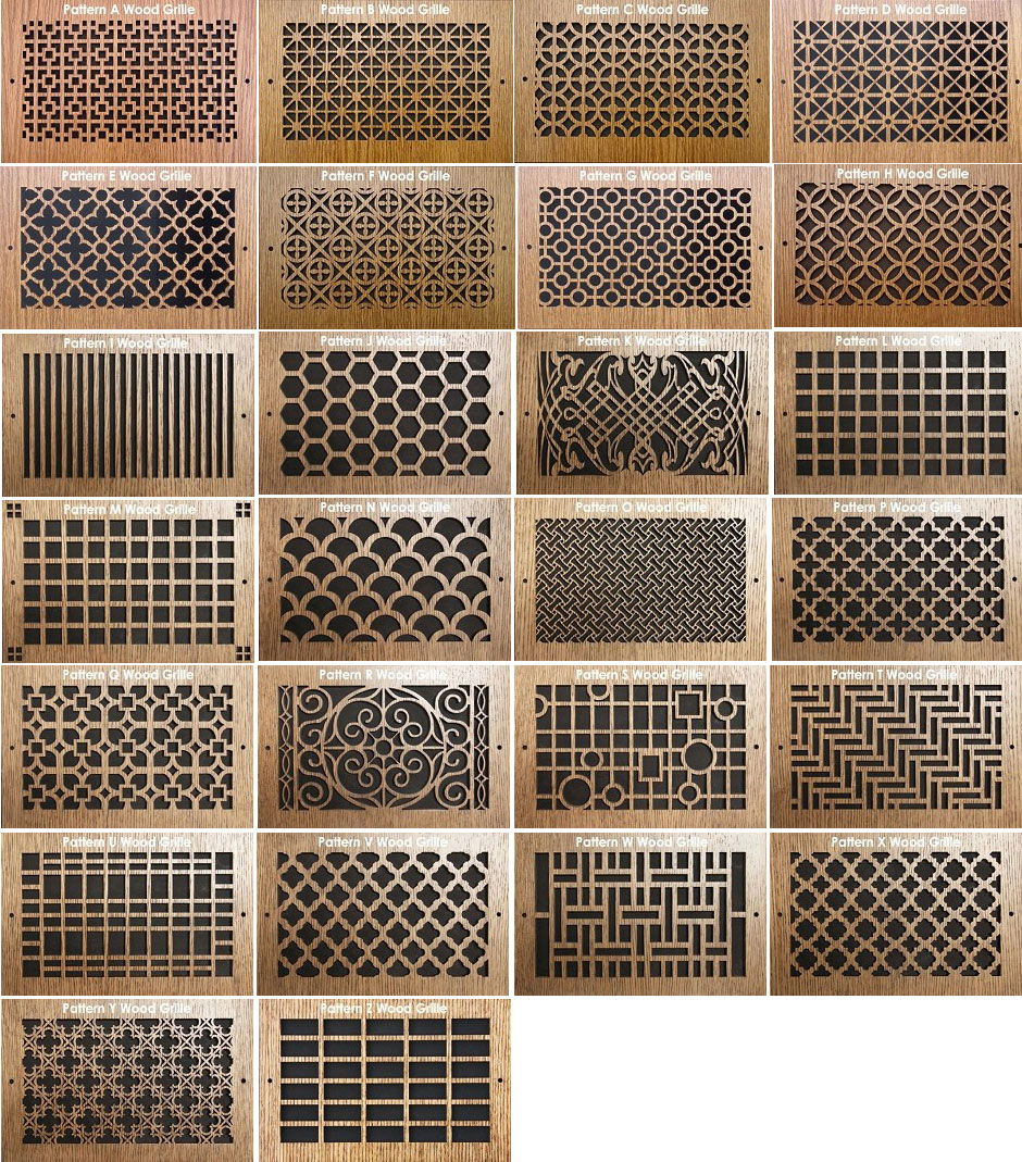 Pattern Cut Grills Wood Return Air Grill