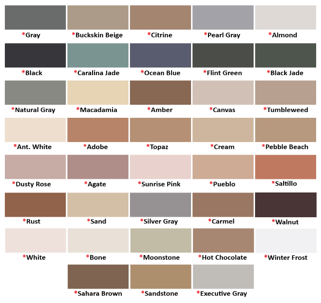 C-Cure Silicone Caulk Color Chart