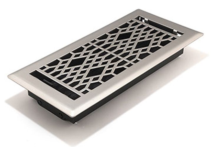 Satin Nickel Register - Decorative Floor Register Vent