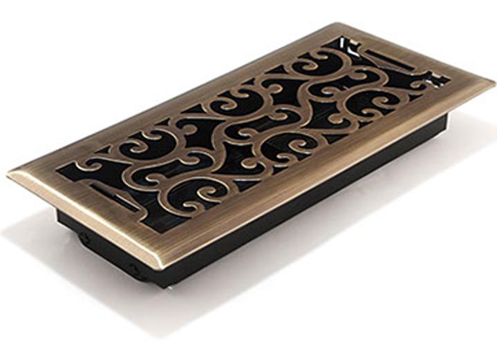 Charleston Floor Register - Antique bRass Decorative Vent Cover