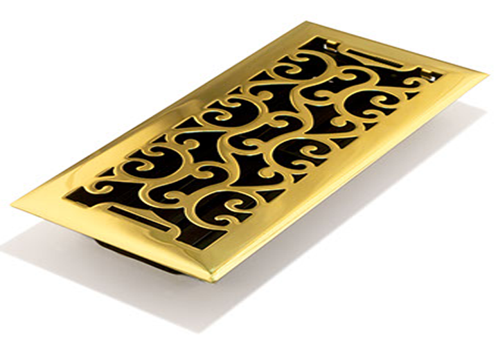 Charleston Polished Brass FLoor Vent - Decorative FLoor Reigster