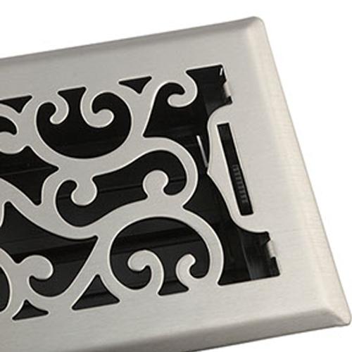 Satin NIckel Floor Register - Decorative Floor Register by Accord Ventiliation
