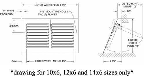 Triangular Baseboard Register Submittal Drawing