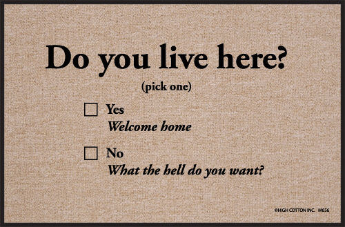 Humorous Door Mat - Do You Live Here?