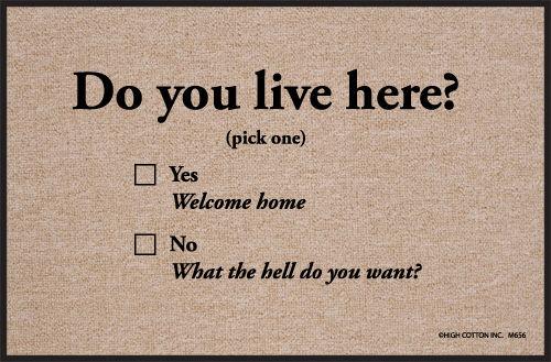 Humorous Door Mat - Do You Live Here?