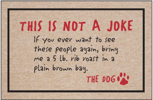 dog Ransom Note Funny Door Mat - Not A Joke