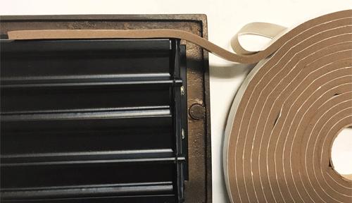 Installing foam tape on floor registers