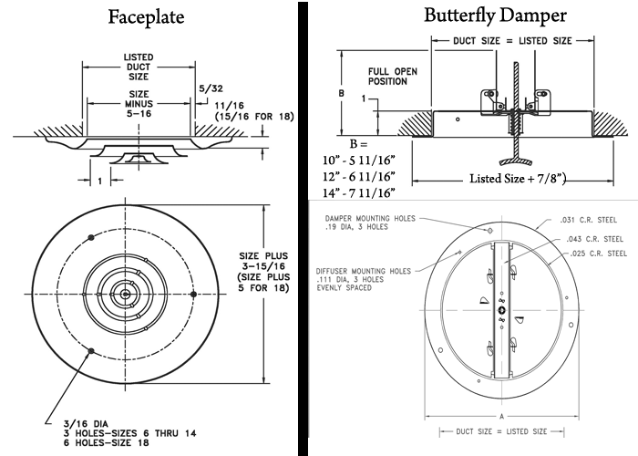 Hart Cooley 16 And 12 Series Round Ceiling Register