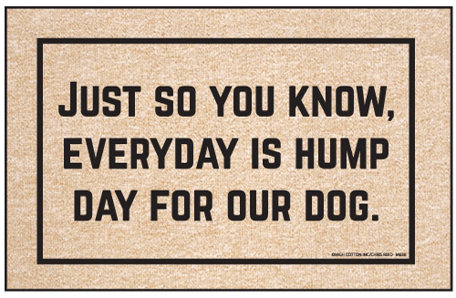 Funny Dog Doormat - Everyday is Hump Day for Our Dog