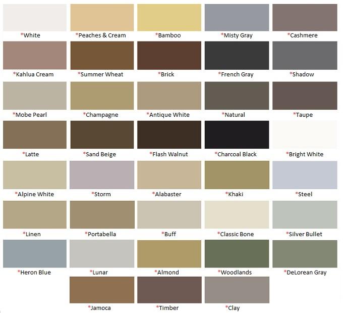 Hydroment Silicone Color Chart