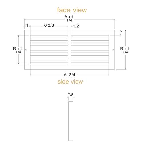 Smaller Faceplate Baseboard Return Grille - White