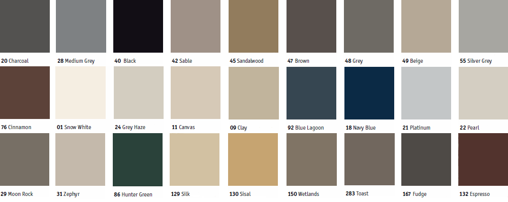 Available colors for Johnsonite T-Molding transition strips