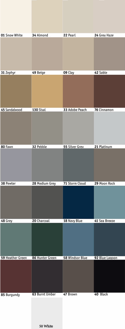 Johnsonite Color Match Color Chart