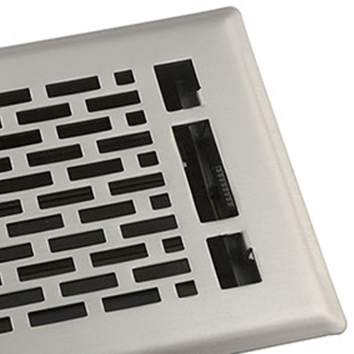Satin Nickel Manhattan Floor Register - Decorative Floor Vent