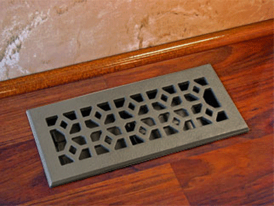 Cast Iron Floor Register - Pewter Decorative Vent