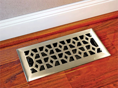 Cast Solid Decorative Floor Vent - Satin Nickel