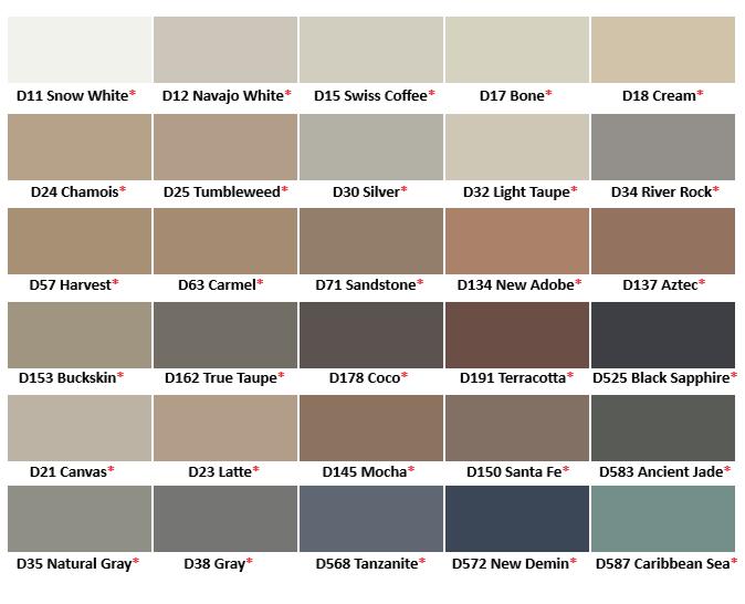 Merkrete Colored Caulk Chart