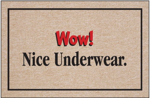 Wow! Nice Underwear. Funny Door Mat
