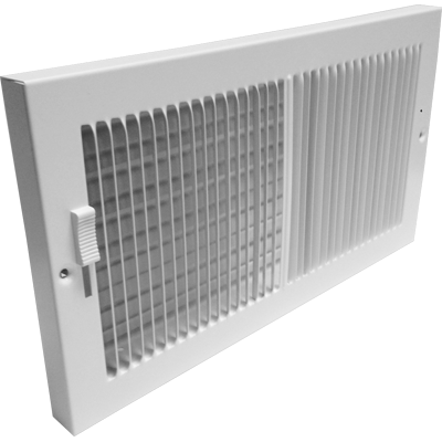 White Baseboard Register Vent Cover With Damper