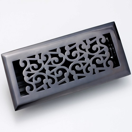 Zoroufy Scroll Antique Black Floor Register