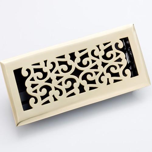 Zoroufy Scroll Polished Brass Floor Register