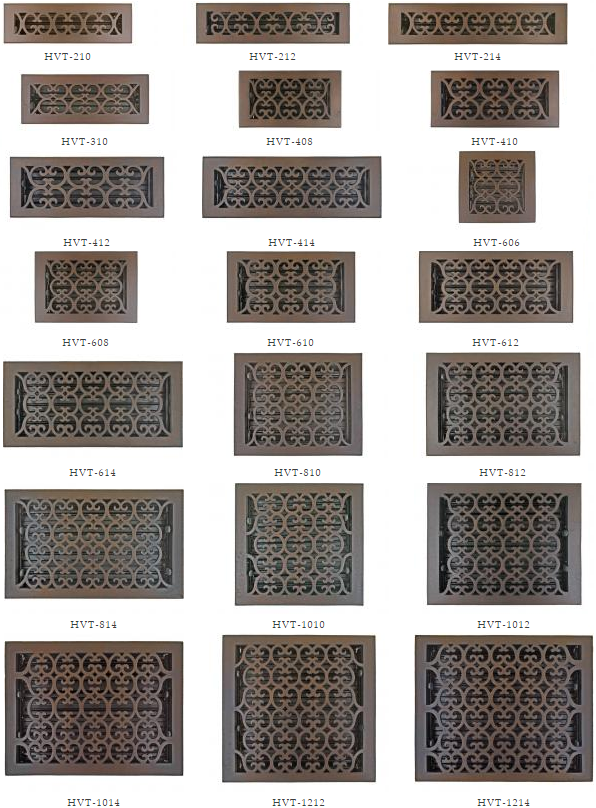 Bronze Patina Scroll Floor Registers