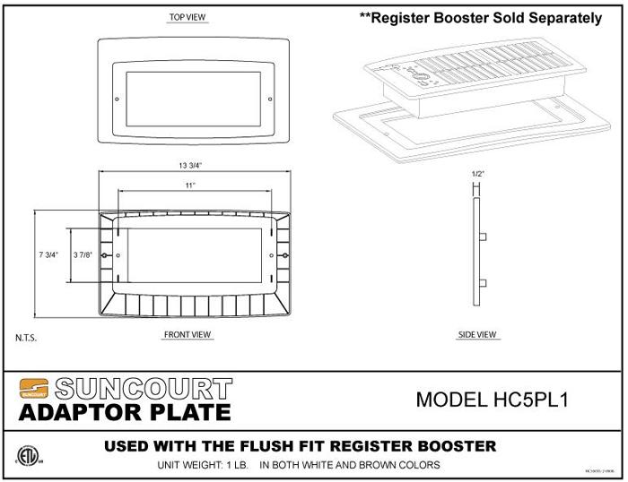 Suncourt Adaptor Plater Plate Spec Sheet