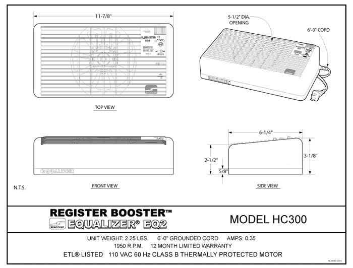 Suncourt Equilizer Register Booster Spec