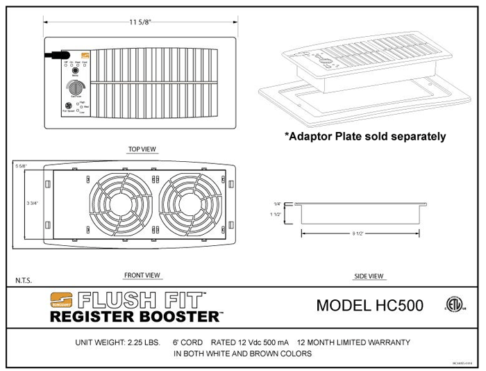 Suncourt Flush Fit Register Booster - Spec Sheets