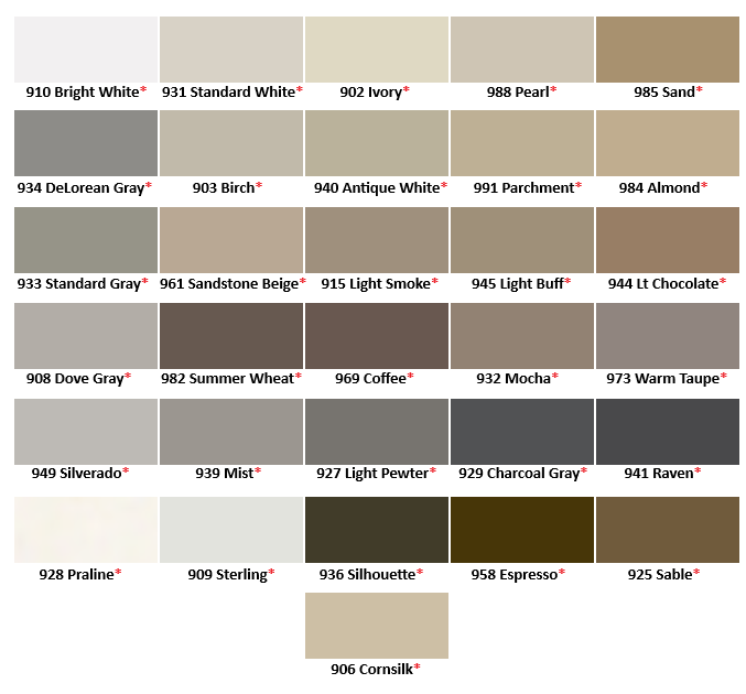 TEC Silicone Caulk Color Chart