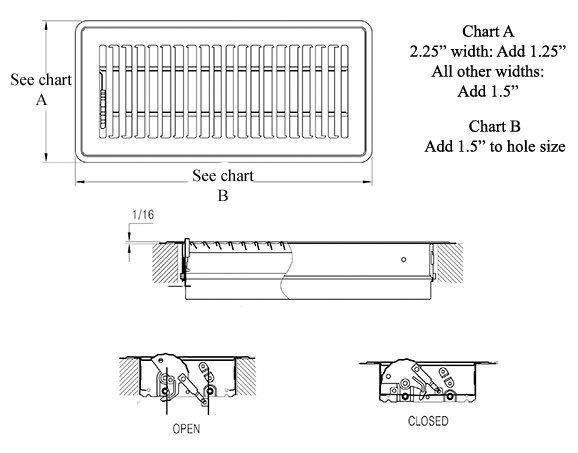 White Steel Floor Register - Submittal Drawing
