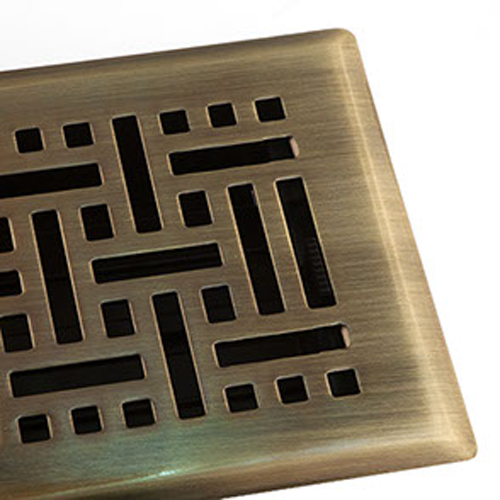 Antique Brass Finished Floor Register Vent - Decorative Wicker Floor Vent