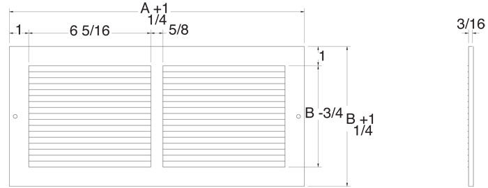 Pewter Return Air Grill Technical Drawing