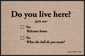 Humorous Doormat - Do You Live Here