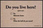 Humorous Doormat - Do You Live Here