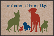 Funny Dog Doormat - Welcome Diversity