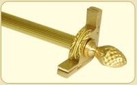 Dynasty Collection Brushed Brass - Fluted Tubular Rod - Pineapple Finials