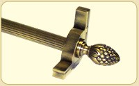 Dynasty Collection Antique Brass - Fluted Tubular Rod - Pineapple Finials