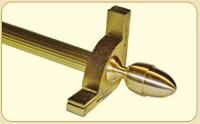 Dynasty Collection Brushed Brass - Fluted Tubular Rod - Acorn Finials