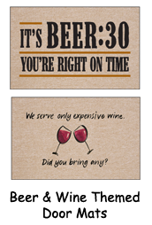 Beer Themed Welcome Mats - Wine Themed Gift