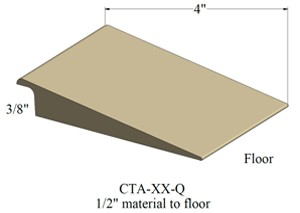 Johnsonite Q Adaptor 4 inch width - 3/8 inch to flush/floor