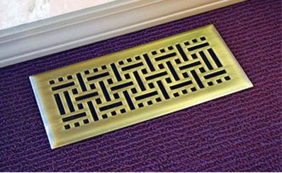Antique Brass Decorative Vent - Wicker Floor vent